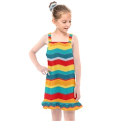 Retro Colors 60 Background Kids  Overall Dress