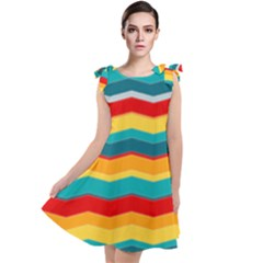Retro Colors 60 Background Tie Up Tunic Dress