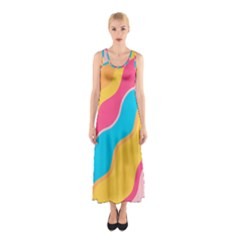Cake Color Palette Painting Sleeveless Maxi Dress by Wegoenart