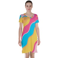 Cake Color Palette Painting Short Sleeve Nightdress