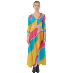 Cake Color Palette Painting Button Up Boho Maxi Dress