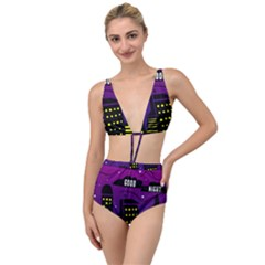 City Architecture Night Skyscraper Tied Up Two Piece Swimsuit