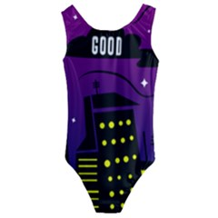 City Architecture Night Skyscraper Kids  Cut Out Back One Piece Swimsuit