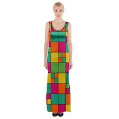 Abstract Background Abstract Maxi Thigh Split Dress