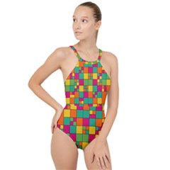 Abstract Background Abstract High Neck One Piece Swimsuit