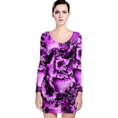 Winter Fractal 1 Long Sleeve Bodycon Dress