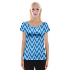 Blue Chevron Background Abstract Pattern Cap Sleeve Top