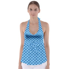 Blue Chevron Background Abstract Pattern Babydoll Tankini Top