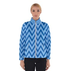 Blue Chevron Background Abstract Pattern Winter Jacket