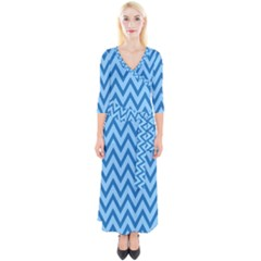 Blue Chevron Background Abstract Pattern Quarter Sleeve Wrap Maxi Dress