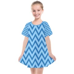 Blue Chevron Background Abstract Pattern Kids  Smock Dress
