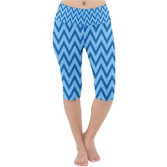 Blue Chevron Background Abstract Pattern Lightweight Velour Cropped Yoga Leggings