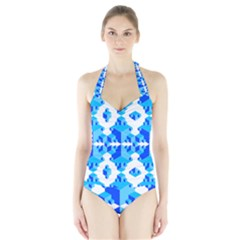 Blue Background Cubes Abstract Wallpapers Halter Swimsuit