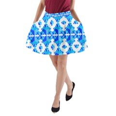 Blue Background Cubes Abstract Wallpapers A-line Pocket Skirt