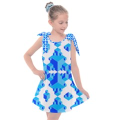 Blue Background Cubes Abstract Wallpapers Kids  Tie Up Tunic Dress