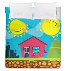 Kawaii Caricature Sun Nature City Duvet Cover Double Side (queen Size)