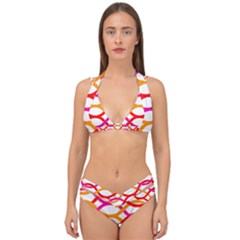 Art Background Abstract Double Strap Halter Bikini Set
