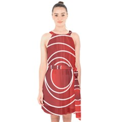 Background Circles Red Halter Collar Waist Tie Chiffon Dress