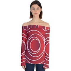 Background Circles Red Off Shoulder Long Sleeve Top