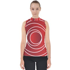 Background Circles Red Mock Neck Shell Top