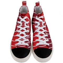 Background Circles Red Men s Mid Top Canvas Sneakers