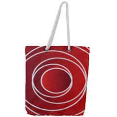 Background Circles Red Full Print Rope Handle Tote (large)