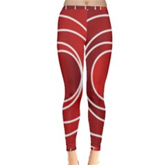Background Circles Red Inside Out Leggings