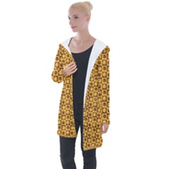 Pattern Background Texture Design Longline Hooded Cardigan