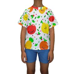 Pattern Fruit Fruits Orange Green Kids  Short Sleeve Swimwear by Wegoenart