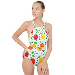 Pattern Fruit Fruits Orange Green High Neck One Piece Swimsuit
