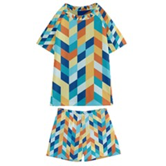 Geometric Retro Wallpaper Kids  Swim Tee And Shorts Set by Wegoenart