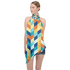 Geometric Retro Wallpaper Halter Asymmetric Satin Top