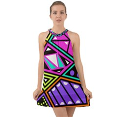 Background Abstract Pattern Halter Tie Back Chiffon Dress by Wegoenart