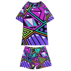 Background Abstract Pattern Kids  Swim Tee And Shorts Set