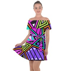 Background Abstract Pattern Off Shoulder Velour Dress