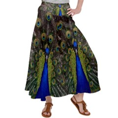 Peacock Bird Plumage Display Full Satin Palazzo Pants by Wegoenart