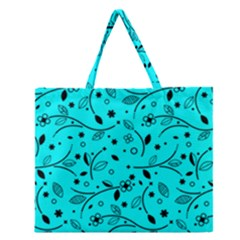 Pattern Flowers Flower Texture Zipper Large Tote Bag