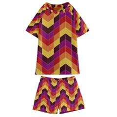 Geometric Pattern Triangle Kids  Swim Tee And Shorts Set by Wegoenart