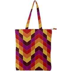 Geometric Pattern Triangle Double Zip Up Tote Bag