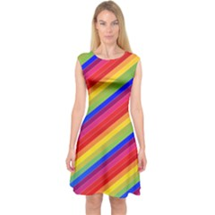 Rainbow Background Colorful Capsleeve Midi Dress