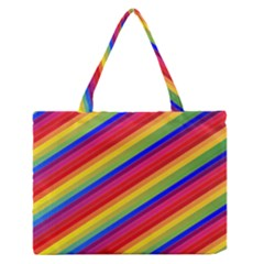 Rainbow Background Colorful Zipper Medium Tote Bag