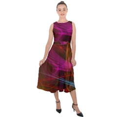 Background Abstract Colorful Light Midi Tie-back Chiffon Dress