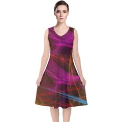 Background Abstract Colorful Light V Neck Midi Sleeveless Dress