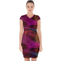Background Abstract Colorful Light Capsleeve Drawstring Dress