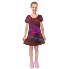 Background Abstract Colorful Light Kids  Short Sleeve Velvet Dress by Wegoenart