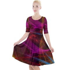 Background Abstract Colorful Light Quarter Sleeve A-line Dress