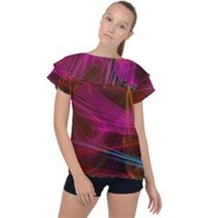 Background Abstract Colorful Light Ruffle Collar Chiffon Blouse