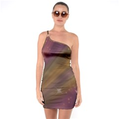 Space Orbs Stars Abstract Sky One Soulder Bodycon Dress