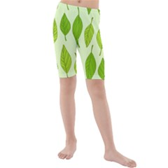 Autumn Background Boxes Green Leaf Kids  Mid Length Swim Shorts