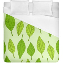 Autumn Background Boxes Green Leaf Duvet Cover (king Size) by Wegoenart